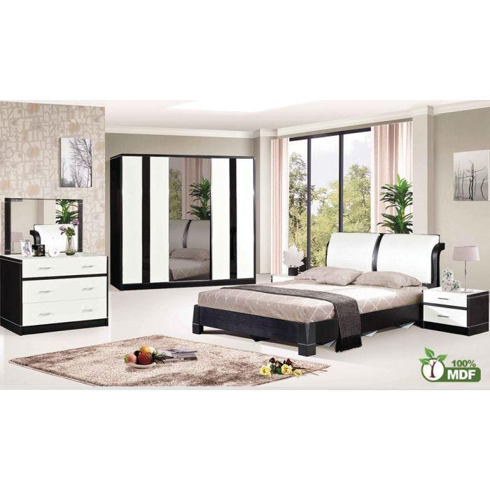 Chambre coucher compl te envy noir et blanc achat for Une chambre a coucher complete