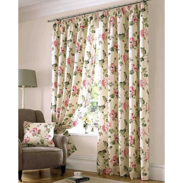 rideaux beige et rose galon fronceur et pr t poser 228x228 cm motif fleur cette paire de. Black Bedroom Furniture Sets. Home Design Ideas