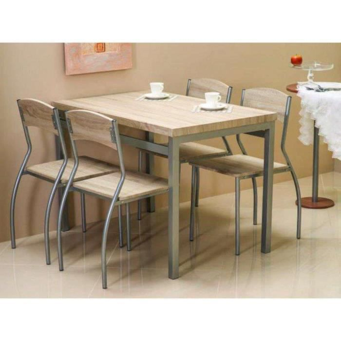 Astro table de salle manger 4 chaises aluminium sonoma - Table de salle a manger haute ...