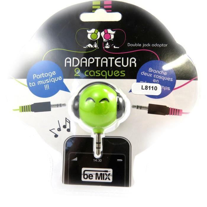 adaptateur 2 casques coloriage vert prise ja achat vente c bles jack adaptateur 2. Black Bedroom Furniture Sets. Home Design Ideas