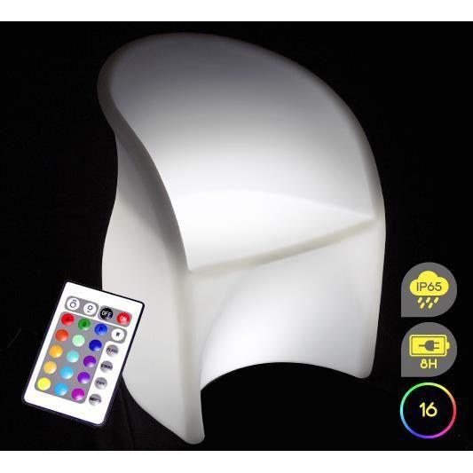fauteuil lumineux led h81cm ext rieur sans fil achat vente fauteuil lumineux led h81cm. Black Bedroom Furniture Sets. Home Design Ideas
