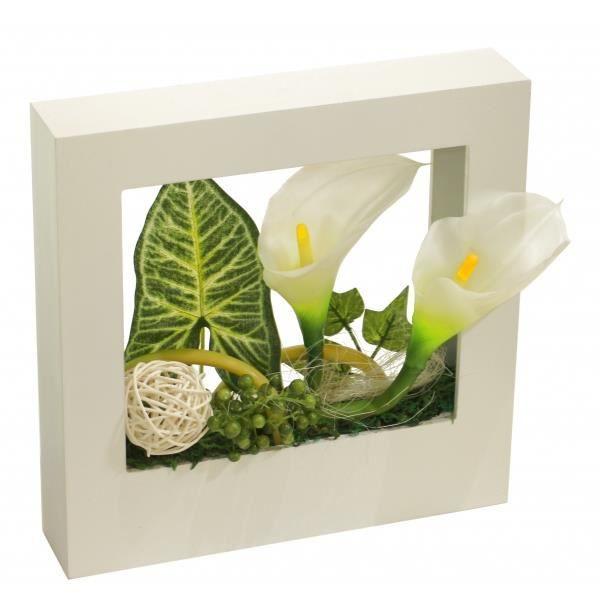 Composition fleurs artificielles cadre design achat for Cadre mural plantes