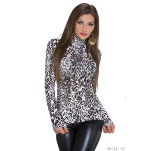SOUS-PULL pull sous pull leopard col montant sexy femme