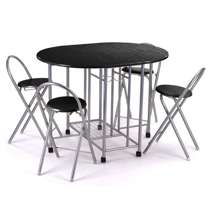 ensemble de 5 pi ces table de cuisine ovale bar avec 4. Black Bedroom Furniture Sets. Home Design Ideas