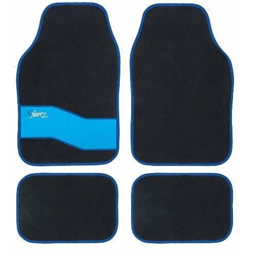 tapis sol pour voiture design bleu et noir sport achat vente tapis de sol tapis sol pour. Black Bedroom Furniture Sets. Home Design Ideas