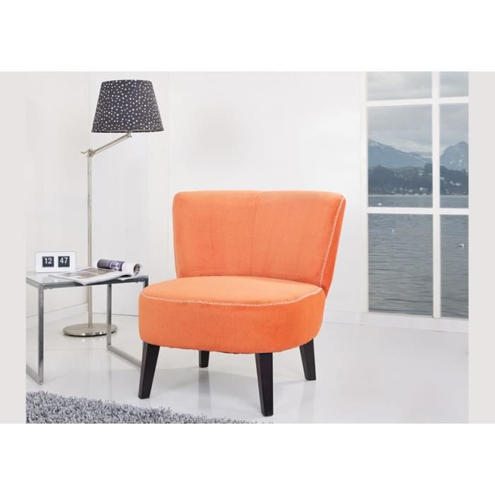 fauteuil tissu orange crapaud achat vente fauteuil polyester pin cdiscount. Black Bedroom Furniture Sets. Home Design Ideas