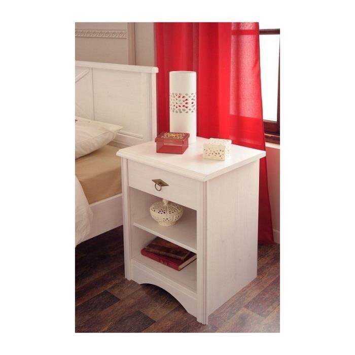 ensemble lit 140x190 et chevet scarlett pin c rus blanc achat vente lit complet ensemble. Black Bedroom Furniture Sets. Home Design Ideas