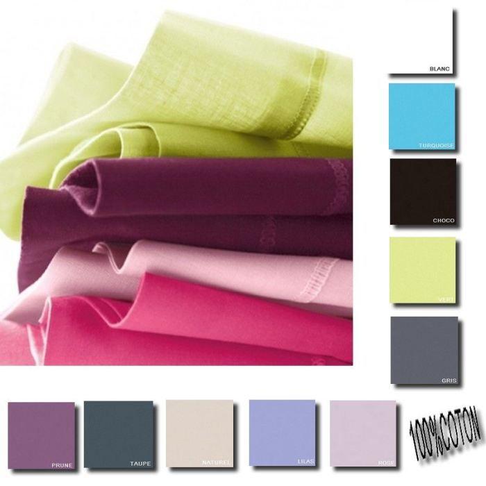 drap plat 180x290 cm 100 coton 57 fils prune achat. Black Bedroom Furniture Sets. Home Design Ideas