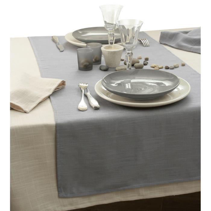 Nappe aspect lin ovale 150x250 cm ficelle achat - Nappe de table ovale ...