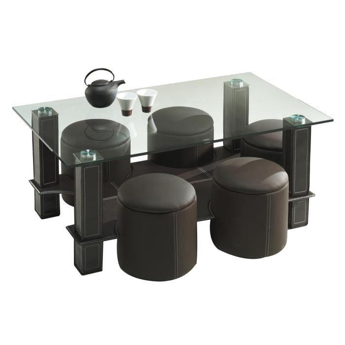 table basse avec 6 poufs en coloris brun brun achat vente table basse table basse avec 6. Black Bedroom Furniture Sets. Home Design Ideas