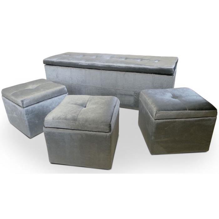 pin banquette coffre et 2 poufs en simili cuir capitonn. Black Bedroom Furniture Sets. Home Design Ideas