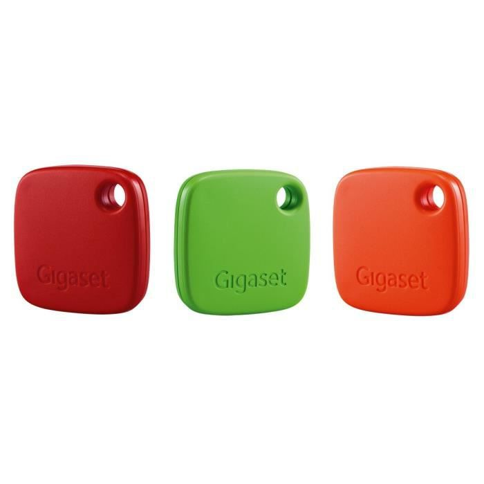 gigaset lot de 3 balises porte cl s connect s g tags rouge vert orange achat vente capteur. Black Bedroom Furniture Sets. Home Design Ideas