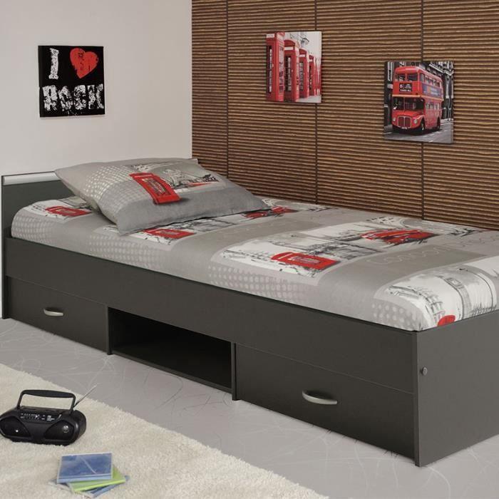 paris prix lit enfant 90x200cm john gris fonc achat vente structure de lit paris prix. Black Bedroom Furniture Sets. Home Design Ideas