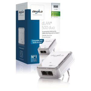 devolo 9104 dLAN 500 Duo, Prise réseau CPL 500 Mbit/s, 2 ports Fast Ethernet, Module complémentaire (x1)