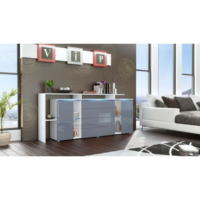 Buffet design vitr blanc et gris avec led 185 cm achat vente buffet ba - Meuble tv avec vitre ...