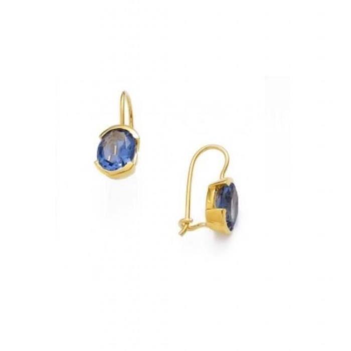 boucle d oreilles dormeuse plaque or 750 000 ovale verre tanzanite achat vente boucle d. Black Bedroom Furniture Sets. Home Design Ideas