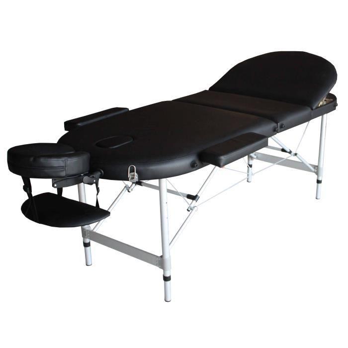 A21k table de massage noire pliante portable alu t achat vente table de massage a21k table - Table de massage pliante d occasion ...