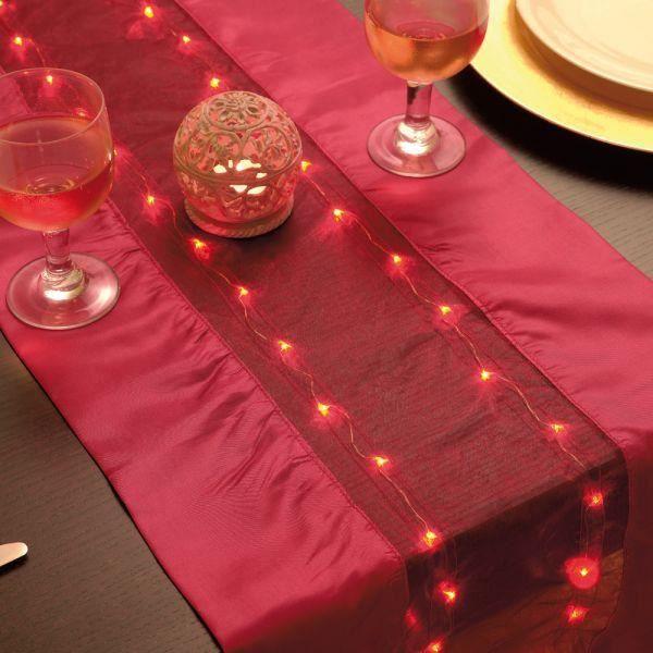 chemin de table lumineux rouge 140 x 35 cm le achat