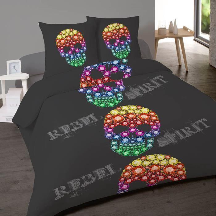housse de couette 200x200 cm rebel 100 coton 2 taies. Black Bedroom Furniture Sets. Home Design Ideas