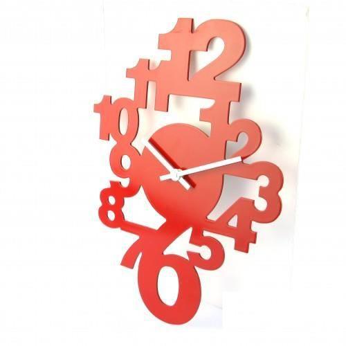 Pendule chiffres rouge achat vente horloge bois mdf soldes cdiscount - Pendule rouge design ...