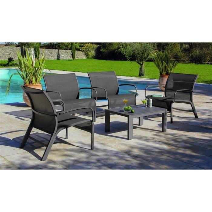 Salon lin a lounge 4 fauteuils 3 tables gris achat vente salon de jardin salon lin a lounge - Comment repeindre un salon de jardin en aluminium ...