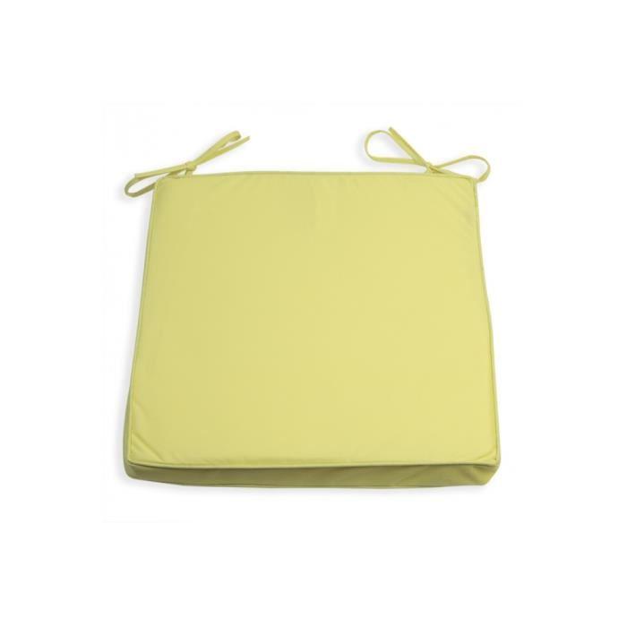 Galette de chaise 38x38 imperm able vert anis achat for Housse de coussin vert anis