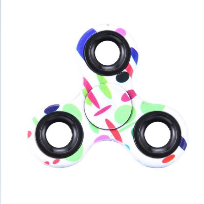 1 pcs hand fidget spinner jeux jouets pour enfant adulte triangle impression couleur peint gyro. Black Bedroom Furniture Sets. Home Design Ideas