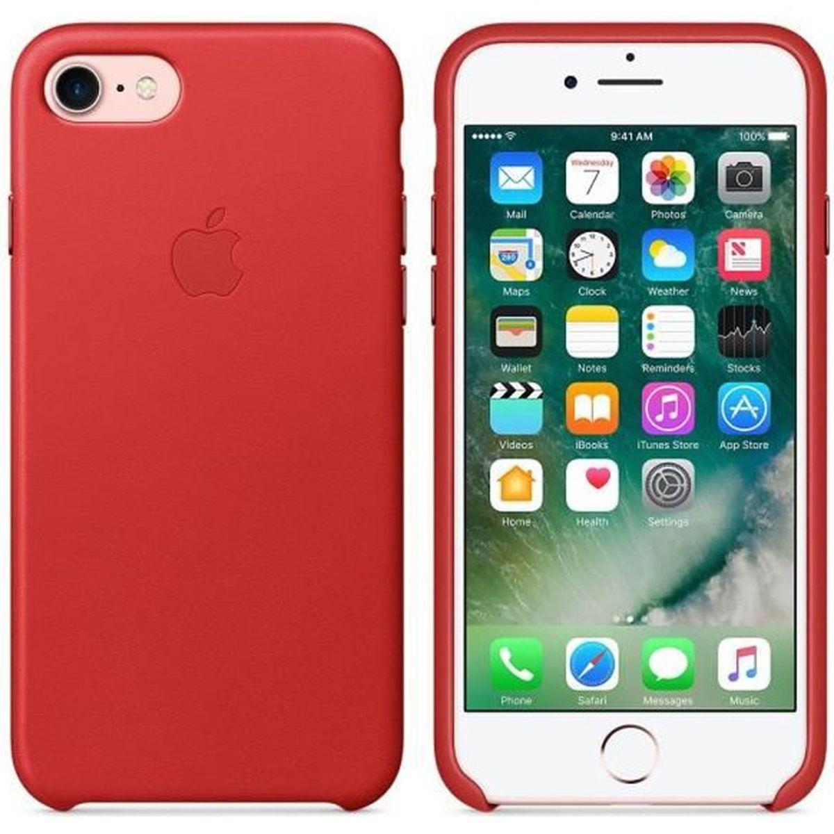 coque apple iphone 7 cuir rouge achat coque bumper pas cher avis et meilleur prix cdiscount. Black Bedroom Furniture Sets. Home Design Ideas