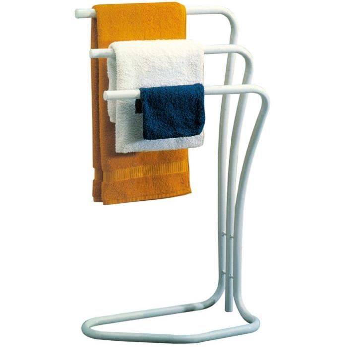 Porte serviette fidji en m tal 3 barres blanc achat for Decoration porte serviette