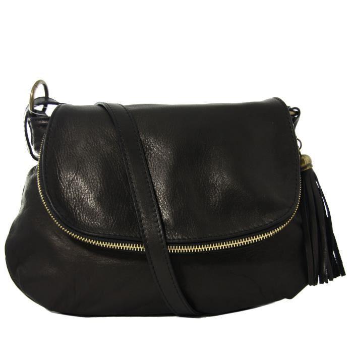 sac bandouli re femme en cuir de vachette noir achat. Black Bedroom Furniture Sets. Home Design Ideas