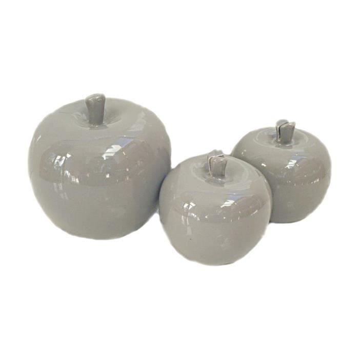 pommes gris brillant c ramique j line lot 3 deco achat. Black Bedroom Furniture Sets. Home Design Ideas