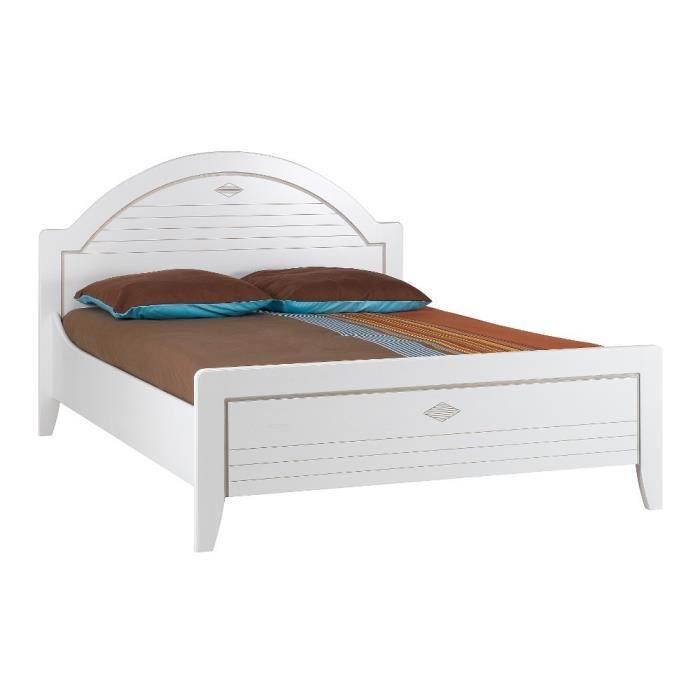 lit adulte chevets 120x190 mathilda blanc achat vente structure de lit soldes d t. Black Bedroom Furniture Sets. Home Design Ideas