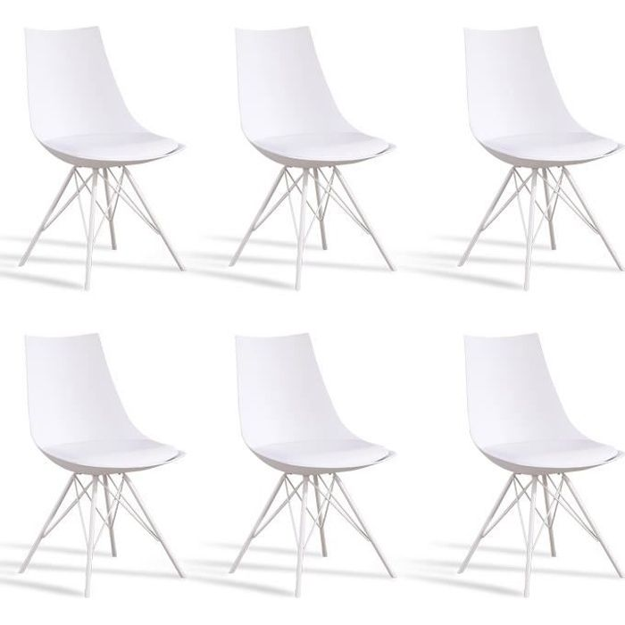 Lot 6 chaises salle manger design blanches eiffel for Chaises blanches design salle manger