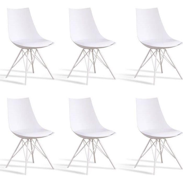 Lot 6 chaises salle manger design blanches eiffel - Lot de 6 chaise salle a manger ...