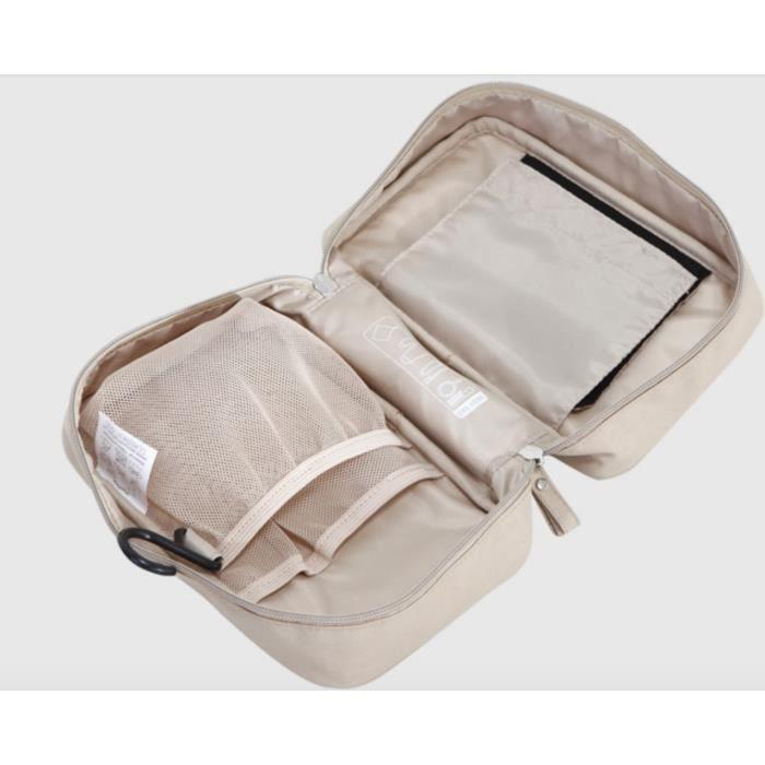 trousse de toilette voyage organisateur sac cosm 233 tique pour femmes beige achat vente trousse
