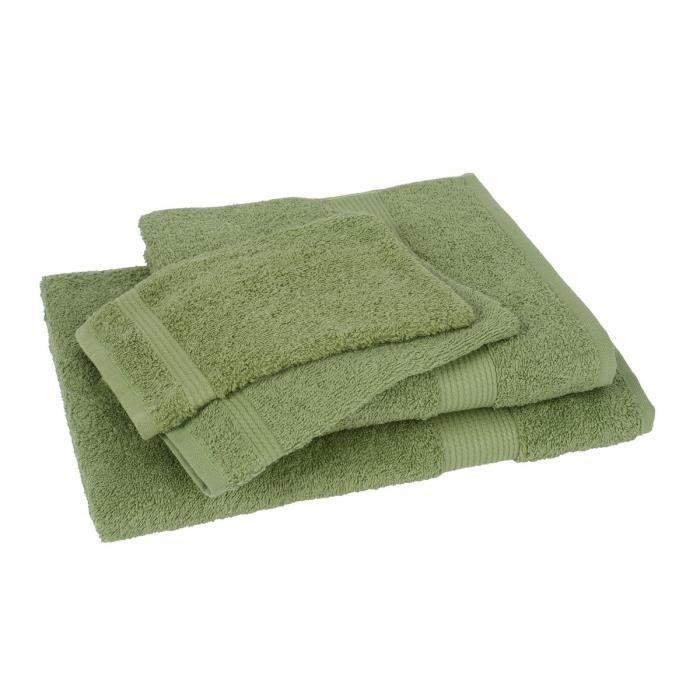 lot de 1 drap de bain 1 serviette 2 gants fairtrade vert achat vente serviettes de bain. Black Bedroom Furniture Sets. Home Design Ideas