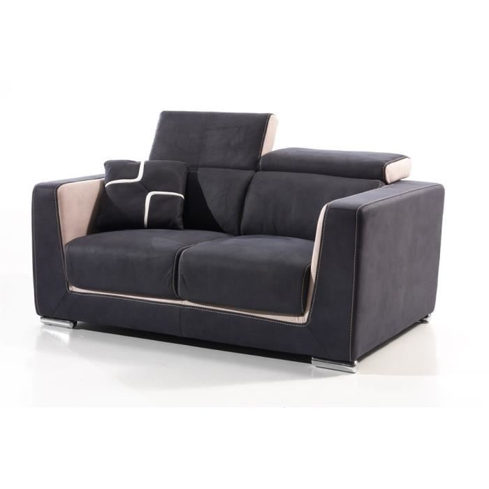 Canap fixe 2 places switsofa s ville tissu ble achat for Canape fixe 2 places tissu