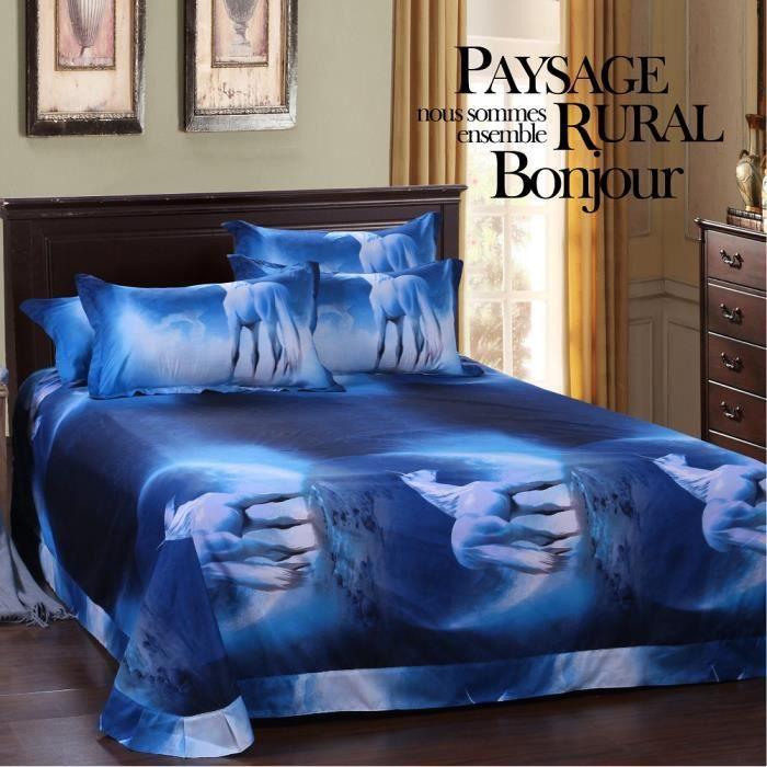 s rie galaxie 3 pi ces housse de couette motif de fleurs avec un cheval 3d ensembles de literie. Black Bedroom Furniture Sets. Home Design Ideas