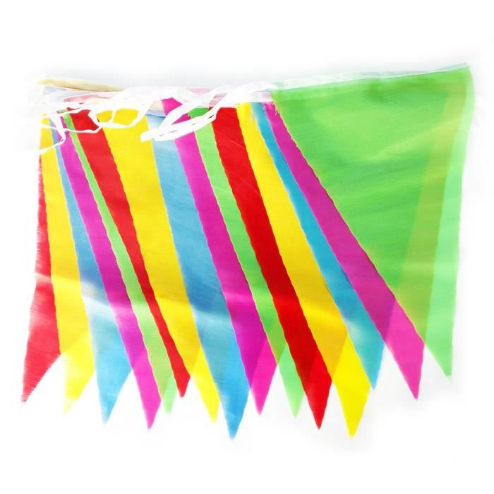 guirlandes de fanions triangles en tissu multicolore 60 m tres achat vente banderole. Black Bedroom Furniture Sets. Home Design Ideas