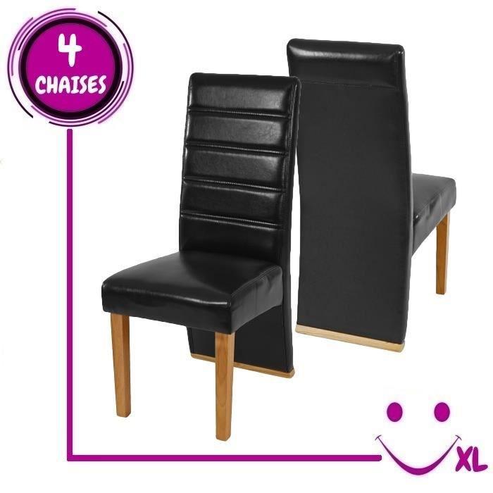 4 chaises de salle manger krems imitation cuir noir for Chaise cuir noir salle manger