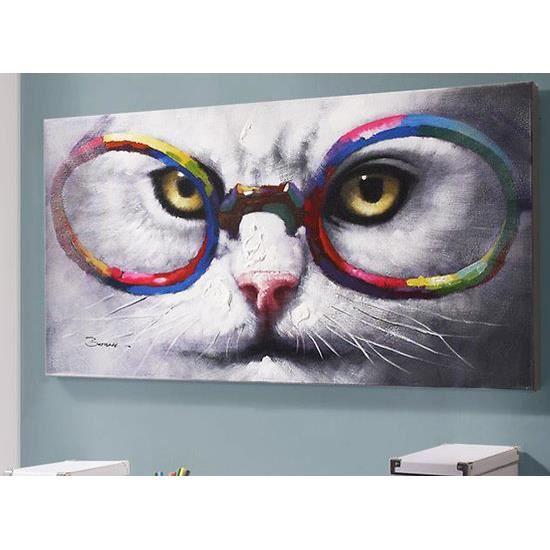peinture sur toile chat aux lunettes 60x120 cm achat vente tableau toile toile acrylique. Black Bedroom Furniture Sets. Home Design Ideas