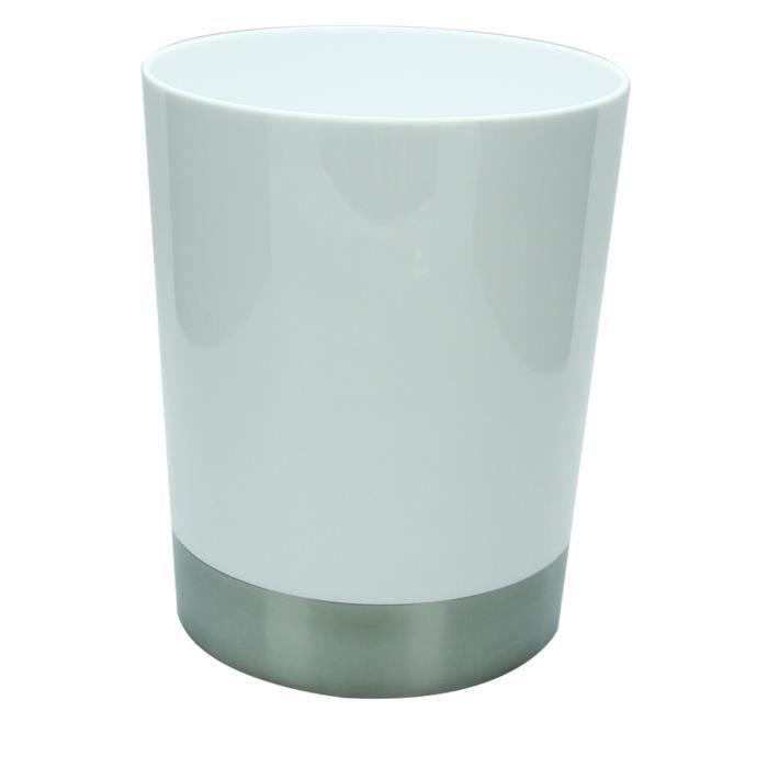 Poubelle de salle de bain blanc achat vente poubelle - Poubelle de salle de bain inox ...
