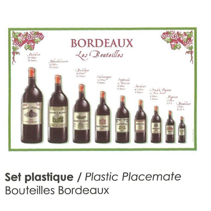 Set de table pvc bouteilles vins bordeaux grand achat vente set de table cdiscount for Grand set de table