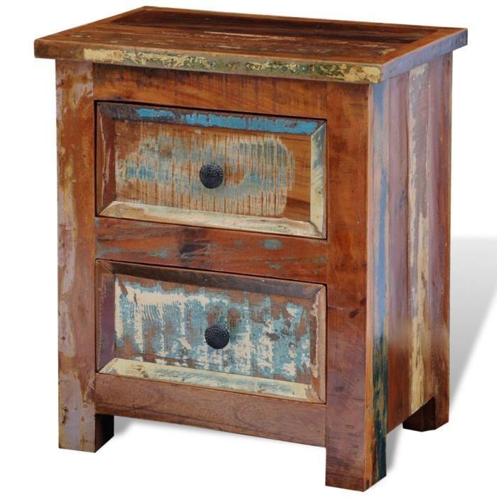 table de chevet en bois recycl achat vente chevet table de chevet en bois les soldes sur. Black Bedroom Furniture Sets. Home Design Ideas