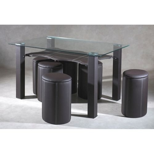 Table manger hexassi choco 6 poufs achat vente for Table ronde avec pouf