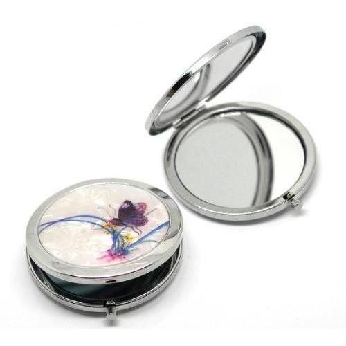 art d co miroir de poche rond cosm tique achat vente miroir de poche art d co miroir de. Black Bedroom Furniture Sets. Home Design Ideas