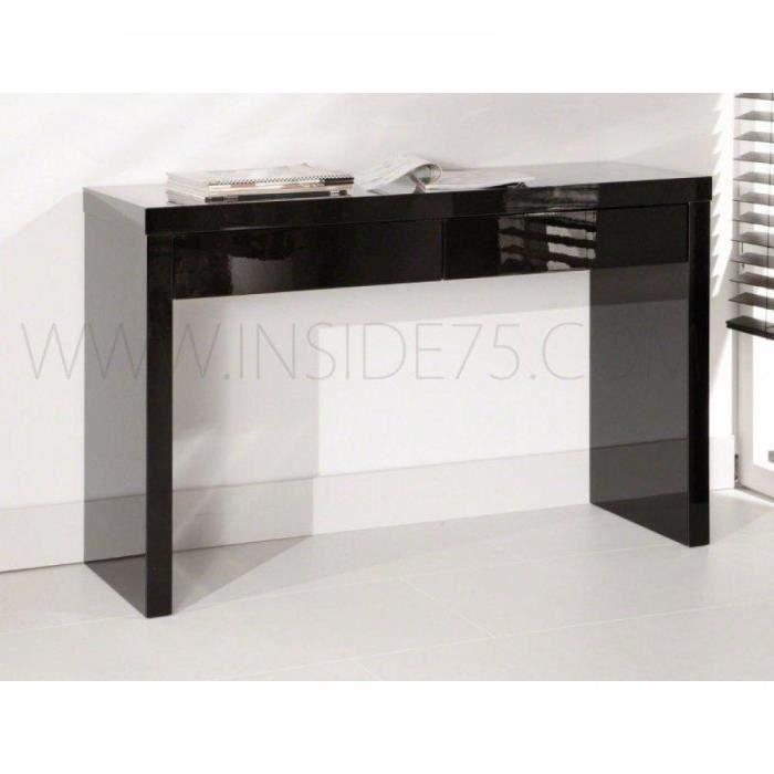 black console design laqu e blanc brillant 2 ti achat. Black Bedroom Furniture Sets. Home Design Ideas