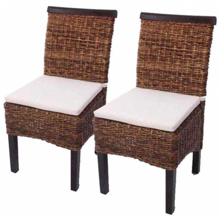 Lot de 2 chaises de salle manger avec coussin achat for Chaise de salle a manger avec roulette