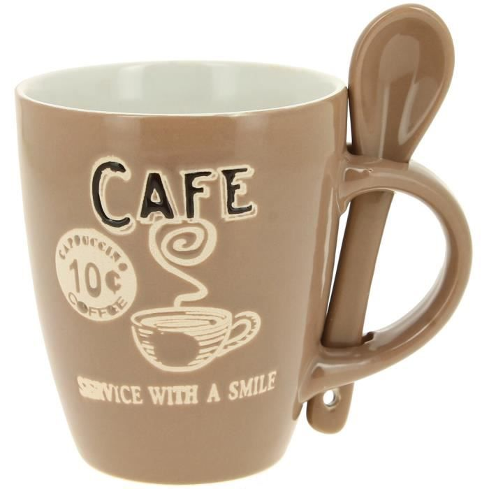mug tasse caf avec cuillere coffee bar 200ml achat vente bol mug mazagran cadeaux. Black Bedroom Furniture Sets. Home Design Ideas