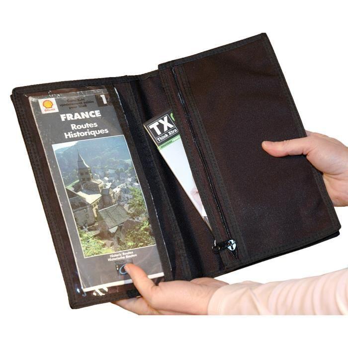 pochette pour documents de voyage cartes routi r noir achat vente pochette 3700364222106. Black Bedroom Furniture Sets. Home Design Ideas